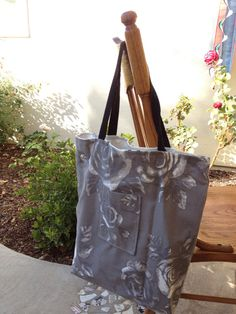 Grey & White Rose Tote Bag / Grocery Bag / Carry All by jenciwsmith, $20.00