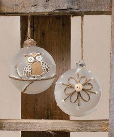 Look at this #zulilyfind! Snowflake Button Chantilly Glass Ball Ornament Set by ZiaBella #zulilyfinds