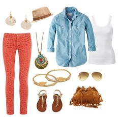 Spring outfit idea on what to wear with red jeans. Click to view more on the blog.