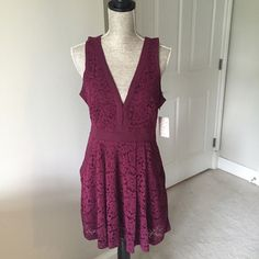 Free People Lovely in Lace dress Free People Lovely in Lace dress is perfect for date night and features cut out detail in back, v-neckline, front pockets and side zip closure. Measurements: Bust: 36 in.  Waist:30 in.  Length:34 in. Free People Dresses