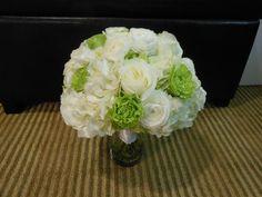 wedding flowers, bridal bouquet, white hydrangea, green roses, white ranunculus, white roses. http://thebloomingidea.blogspot.com