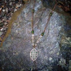 Fresh necklace :) #fashionista #fashion #emerald #may #birthstone #glass #cubiczirconia #quartzcrystal #clarity #green #antique #necklace #pendant