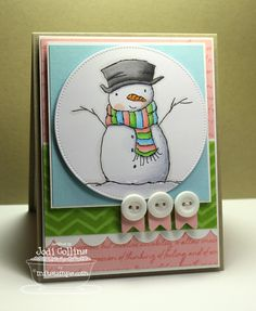 Pure Innocence Holiday Hugs Snowman; Jumbo Mod Borders; Art Expression Text; Pierced Circle STAX Die-namics; Simply Scallops Medium Die-namics; Bitty Banners Die-namics - Jodi Collins