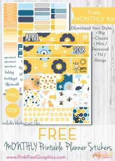 Free Printable April 2018 Planner Stickers {subscription required} See more at www.pinkpixelgraphics.com