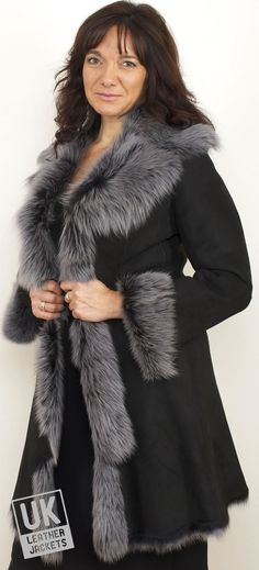 Finest 3/4 Length Toscana Sheepskin Coat - Monroe in Black or Grey - LIMITED STOCK! - A superbly comfortable and ultimately luxurious women's 3/4 length Toscana sheepskin coat in a choice of black or grey shades with snow tipped fur like wool.   The 3/4 length offers great versatility for those seeking a shorter length. A timeless design classic that will not date and will serve faithfully for years and years and thus a fantastic investment piece at the extra price reduction!      Ultimate…