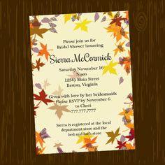 Fall Autumn Leaves Digital Bridal Shower Invitation, printable on your computer or at the copy shop.  Perfect for a fall season wedding.