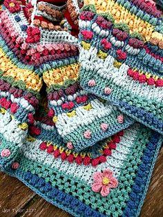 Crochet Patterns Afghans Ravelry: The Amanzi Block/Throw pattern by Jen Tyler - Crochet Motifs, Crochet Square Patterns, Crochet Quilt, Crochet Squares, Crochet Blanket Patterns, Crochet Stitches, Knit Crochet, Knitting Patterns, Crochet Blankets