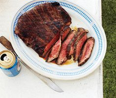 Asian grilled Flank Steak - I'd probly use London Broil rather than flank, but looks super easy and yummy!