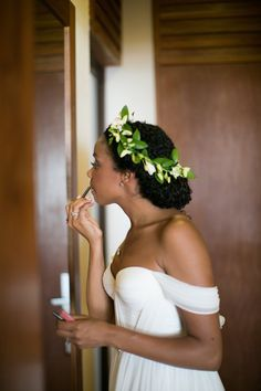 Halo Braid with Natural Hair. #weddingdayhair Find more inspiration on NaturalHairBride.com