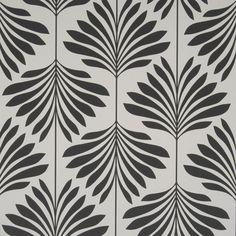 "20 1/2"" Leaf/Foliage/Vine Black/White Solid W/Pattern Fabric Trim - Clarke & Clarke Fabric Trimmings"