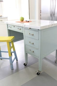 Let me introduce to you… MY NEW KITCHEN ISLAND!!!! WE Have had this old school desk for 8 years. I got it for $40 at the Greenwood Country Store and it still has the metal ID tag on it t…