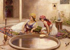 Fabio Fabbi ( Italian Painter1861-1946)  –  Reclining Odalisques by a Reflecting Pool