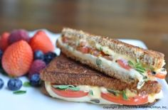 Guiltless Grilled Cheese with Roma Tomatoes and Fresh Organic Oregano - Christine Avanti Piece Of Bread, Roma Tomatoes, Unique Recipes, Sandwich Recipes, Healthy Recipes, Healthy Food, Sandwiches, Clean Eating, Food And Drink