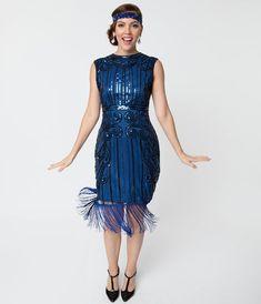 2b0acd4927c 1920s Style Blue   Black Beaded Avignon Flapper Dress. Unique VintageHair  ...