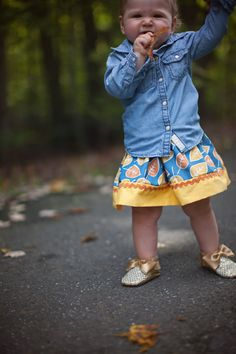Toddler/Baby Twirl Skirt/ Leaf Print by LookieLooLoo on Etsy