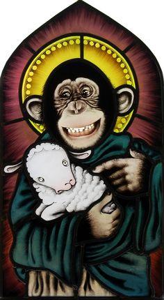 gebrandschilderd glas in lood, heilig aapje. stained glass holy monkey. www.pazzoglas.nl