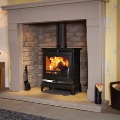 The Rochester Multi Fuel Stove in Black by Flavel Inset Fireplace, Wood Burner Fireplace, Cottage Fireplace, Inglenook Fireplace, Brick Fireplace Makeover, Home Fireplace, Living Room With Fireplace, Fireplace Design, Gas Log Burner