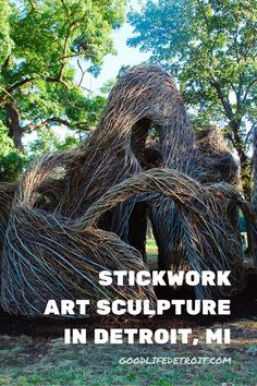 This beautiful art sculpture called 'Stickwork' is now on display at Eliza Howell Park in Detroit, Michigan. Click the pin to view more photos of Patrick Dougherty's amazing artwork! Detroit Art, Detroit Michigan, Cool Artwork, Amazing Artwork, Museum Of Contemporary Art, More Photos, Home Art, Sculpture Art, Art Gallery