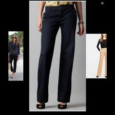 Ann Taylor Loft wide leg curvy trouser sz 10 Nice wide leg denim trouser perfect for a night out or for office in good condition no stains or rips, cute buttons on front pockets Ann Taylor Jeans Flare & Wide Leg