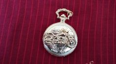 Gold plated pocket watch lovely gift for a man who likes motorcycle