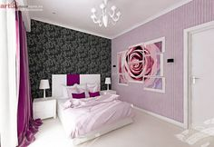 Amenajare apartament 2 camere - ansamblu rezidential. www.artdecozone.ro, #amenajariapartamente, #decorinterior Interior Decorating, Decorating Ideas, Art Deco, Purple, Pink, Furniture, Bedrooms, Interiors, Design