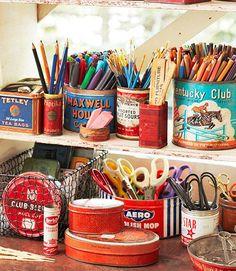 Craft Room Storage, Craft Organization, Craft Rooms, Storage Ideas, Storage Basket, Organizing Art Supplies, Desk Storage, Office Storage, Organising
