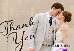"put the ""thank you"" on the back. Then the person has a cute wedding photo of the couple!       thank you card"