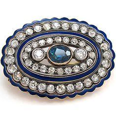 Brosche antik 14K Rose-/Gelbgold 1 Saphir 46 Diamanten ca. 3,3ct blau emailliert
