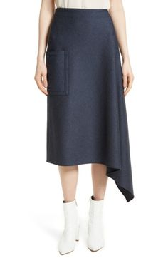 Free shipping and returns on Tibi Origami Asymmetrical Twill Skirt at Nordstrom.com. A fluttery, cascading cut defines this knit skirt spun from denim-look stretch twill. A patch pocket at one hip balances the off-kilter design. Knit Skirt, Midi Skirt, Style Me, Topshop, Nordstrom, Denim, Knitting, Skirts, Origami