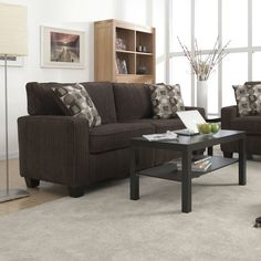 """Add functional style and comfort to your living space with the Serta® Palisades Collection 78"""" Sofa. Whether you're looking to furnish a small space or add to your existing home decor, its compact size and tool-free assembly make it an optimal seating solution for your apartment, condo or office. Straight arms and square footers along with trendy fabrics and an espresso finish bring modern style at great value to your living room, den or home office. Quality hardwood materials, individua..."""