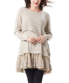 Altered Inspiration! Love this Beige Asymmetrical-Crochet Lace-Layered Tunic on #zulily! #zulilyfinds