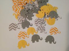 FREE SHIPPING 100 yellow and gray chevron and solid elephant confetti- baby boy shower- customize colors- on Etsy, $5.90