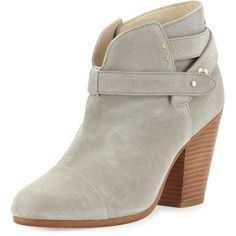 Rag & Bone Harrow Leather Ankle Boot (£365) ❤ liked on Polyvore featuring shoes, boots, ankle booties, light grey, high heel bootie, leather boots, high heel ankle boots, ankle length boots and bootie boots