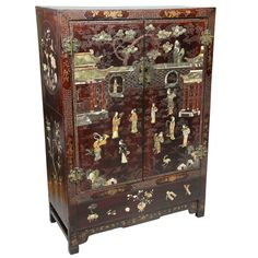 Chinese Lacquer And Hardstone Mounted Cabinet