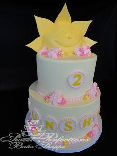 Sunshine Cake! Sunshine Birthday Cakes, Butterfly Birthday Cakes, Sunshine Cake, 2nd Birthday Parties, Birthday Ideas, Dream Cake, Cake Board, Girl Cakes, Thing 1