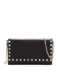 VALENTINO Rockstud Large Wallet-On-Chain, Black. #valentino #bags #shoulder bags #wallet #accessories #