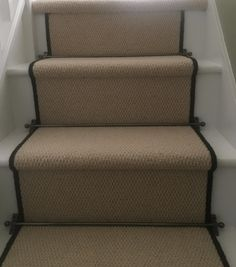 Bespoke Hobnail carpet, black whipping and bronze stair rods. Classy & stylish yet also practical.