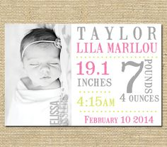 Baby Girl Birth Announcement -  Custom Photo Birth Announcement - Printable File -  Stamp Font Multi Colored