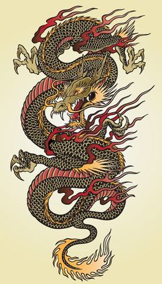Vinyl Wall Mural Detailed Asian Dragon Tattoo Illustration ✓ Easy Installation ✓ 365 Day Money Back Guarantee ✓ Browse other patterns from this collection!