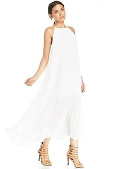 White Off the Shoulder Pleated Maxi Dress 29.33