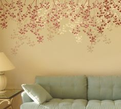 Stencil for walls Weeping Cherry - Reusable stencils better than Wall Decals. $42.95, via Etsy.