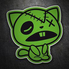 Pegatinas: Gato zombi #friki #TeleAdhesivo