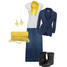 Pops of Yellow and such a modest outfit... maybe different shoes though... but thats just me....