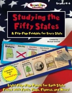 STUDYING THE FIFTY STATESA Flip-Flap Foldable for Every StateFilled with Facts, Flags, Figures and More!Showcase students learning with these easy-to-make, flip-flap foldables that focus on essential facts about the fifty states: its capital city, state flag, state bird, state flower, state tree, state quarter, famous landmarks, and famous people.