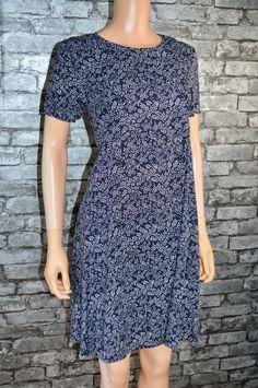 070299f60fe Women s Dark Blue Leaf Print Short Sleeved Flowy A-Line Dress Size 12 RRP 29