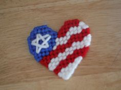 Patriotic Heart Magnet  Plastic Canvas by ShanaysCreation on Etsy, $2.00