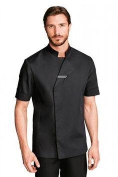 Officer collar with white piping trim on underside of collar. Snap buttons concealed under placket. Armhole cut-outs. Short sleeves with cuffs. 1 pocket on left sleeves. White piping on back. Cafe Uniform, Waiter Uniform, Spa Uniform, Hotel Uniform, Men In Uniform, Scrubs Uniform, Staff Uniforms, Medical Uniforms, Work Uniforms