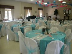 They look better at night, but you can see the chair covers and white table cloths....
