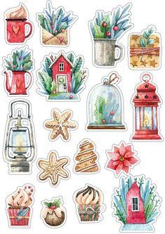 Stickers Kawaii, Diy Stickers, Illustration Noel, Christmas Illustration, Scrapbooking Stickers, Scrapbook Paper, Printable Planner Stickers, Journal Stickers, Printables