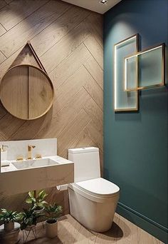 Powder rooms are usually pretty small and tough to design. Everybody has this small room and they don't know what to do with it and how to make it look good! I found 15 genius powder room ideas for you, so you can get inspired and ready to renovate! Wood Bathroom, Downstairs Bathroom, Modern Bathroom, Bathroom Green, Washroom, Bathroom Ideas, Powder Room Decor, Powder Room Design, Powder Rooms